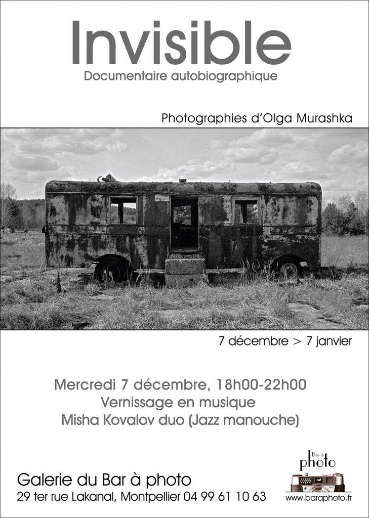 Exposition du 7 décembre 2016 au 7 janvier 2017 du lundi au vendredi de 14h à 18h.Photographies d'Olga Murashka - Galerie du bar à Photo - Montpellier